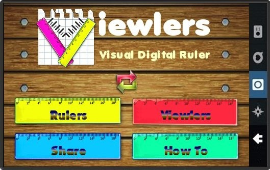 Viewlers Ruler App Main Menu