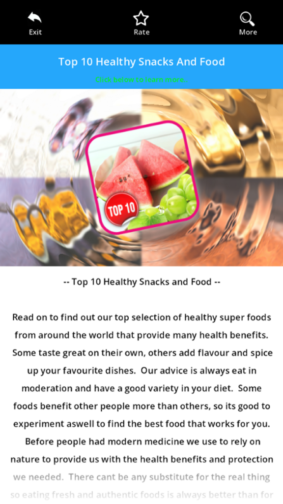 Top Ten Healthy  Snack And Food Android App