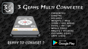 3 grams free multi unit converter mobile app