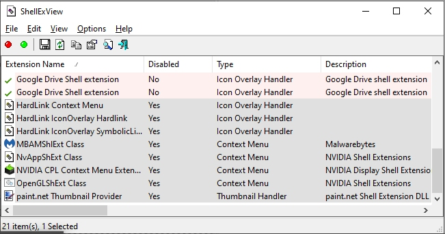 ShellExView context menu fix